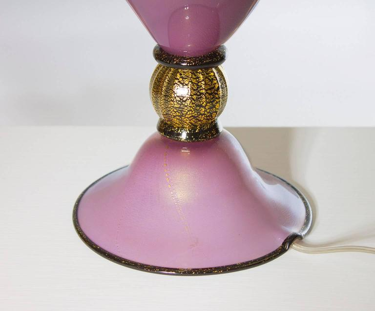 Late 20th Century Italian Venetian, Table Lamp, Blown Murano Glass, Magenta & Gold 24-K, 1980s For Sale