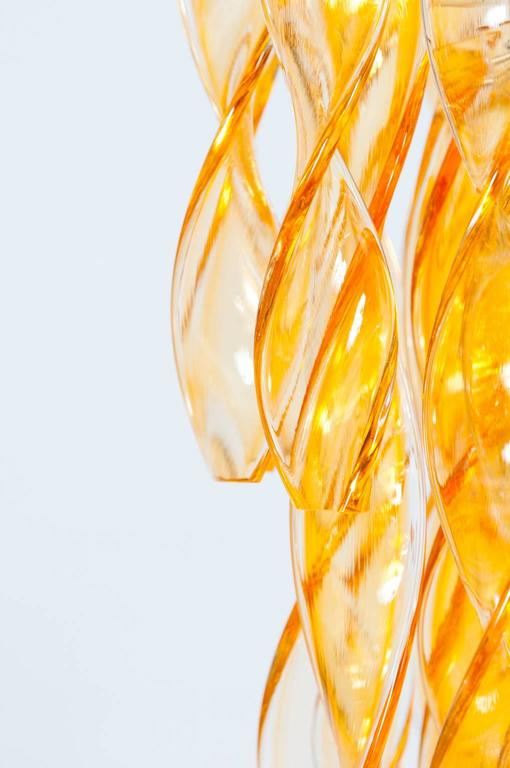 Hand-Crafted Italian Venetian Flush Mount in blown Murano Glass twisted orange, 1990s For Sale