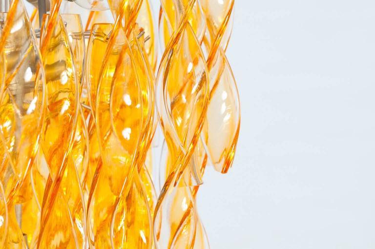 Italian Venetian Flush Mount in blown Murano Glass twisted orange, 1990s In Excellent Condition For Sale In Villaverla, IT