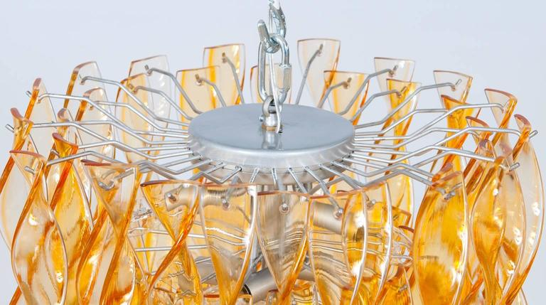 Italian Venetian Flush Mount in blown Murano Glass twisted orange, 1990s For Sale 1