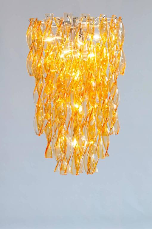 Italian Venetian Flush Mount in blown Murano Glass twisted orange, 1990s For Sale 3