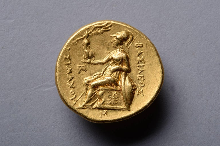 Ancient Greek Gold Stater Coin of Alexander the Great, 297 BC In Excellent Condition For Sale In London, GB