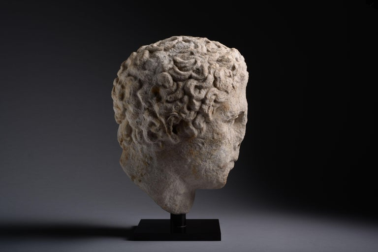 Ancient Greek over Lifesize Hellenistic Marble Head of an Athlete, 300 BC In Excellent Condition For Sale In London, GB