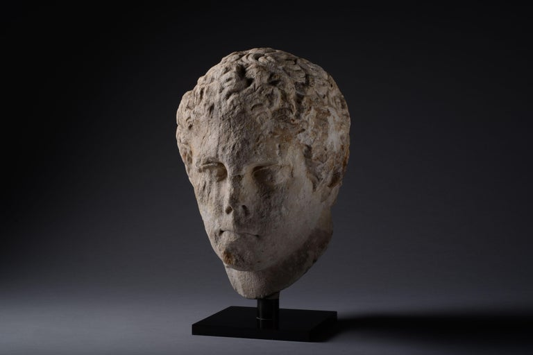 Ancient Greek over Lifesize Hellenistic Marble Head of an Athlete, 300 BC For Sale 4