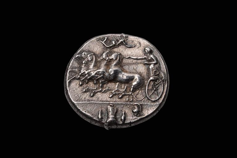 Ancient Greek Silver Decadrachm Coin by Euainetos of Syracuse, 400 BC 2