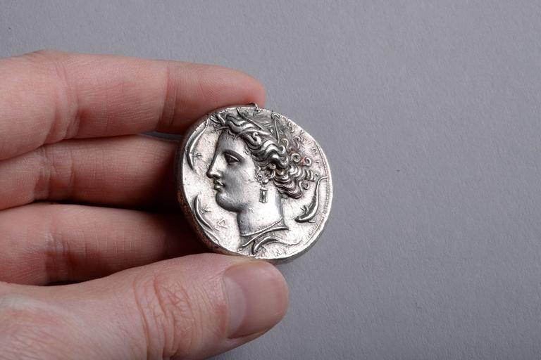 Ancient Greek Silver Decadrachm Coin by Euainetos of Syracuse, 400 BC 3