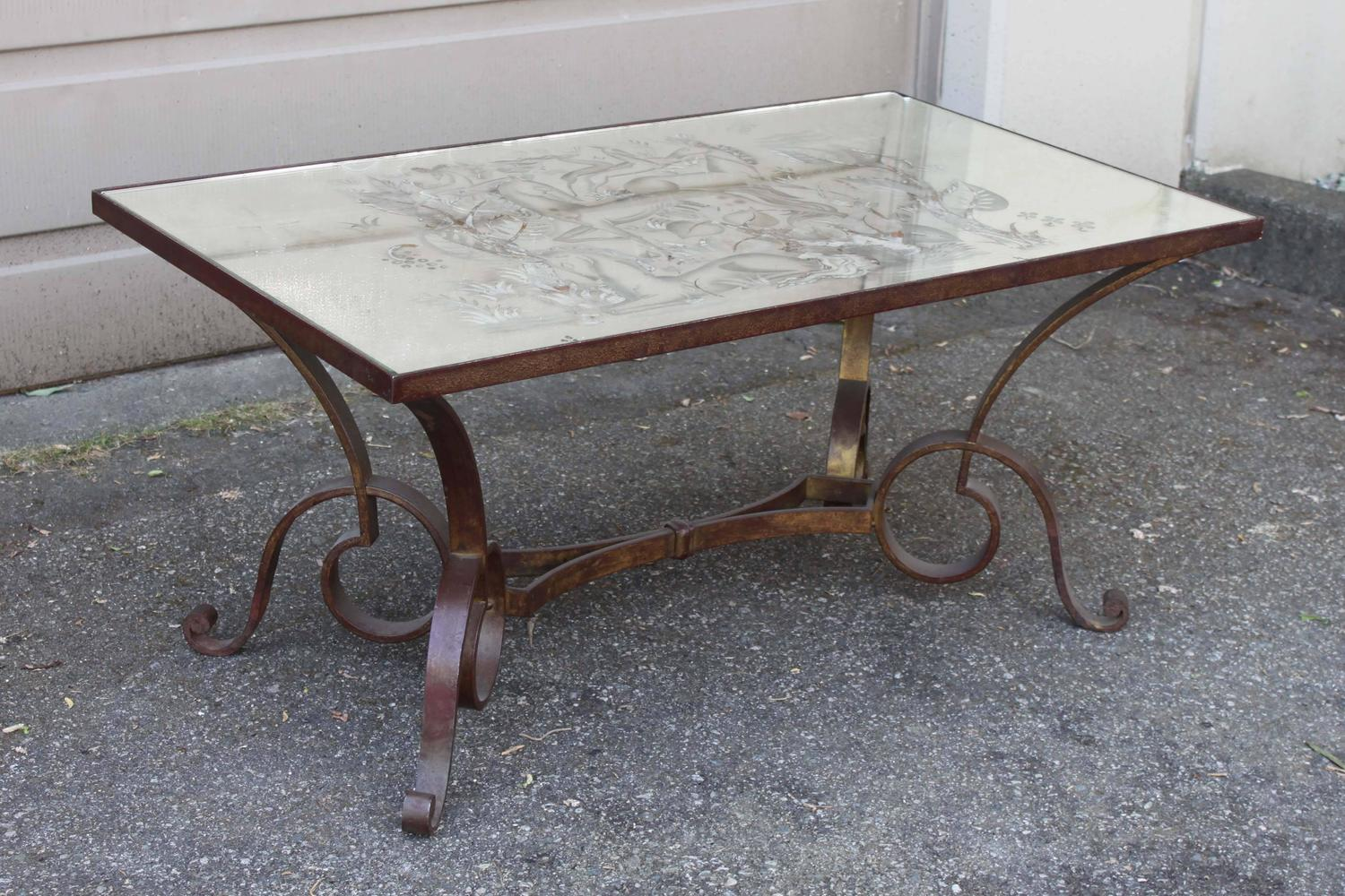 Glomis wrought iron coffee table for sale at 1stdibs for Wrought iron coffee table for sale
