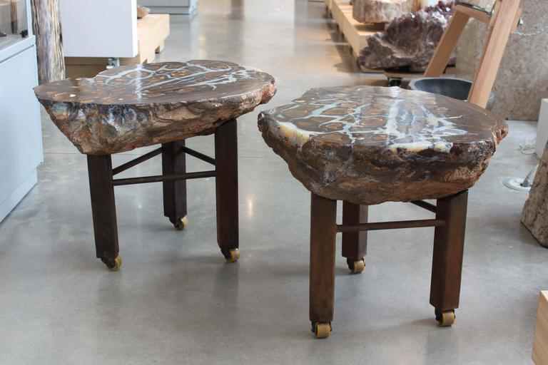 Modern Boulder Opal Side Tables, Pair For Sale