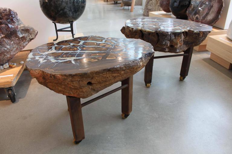 Boulder Opal Side Tables, Pair For Sale 2