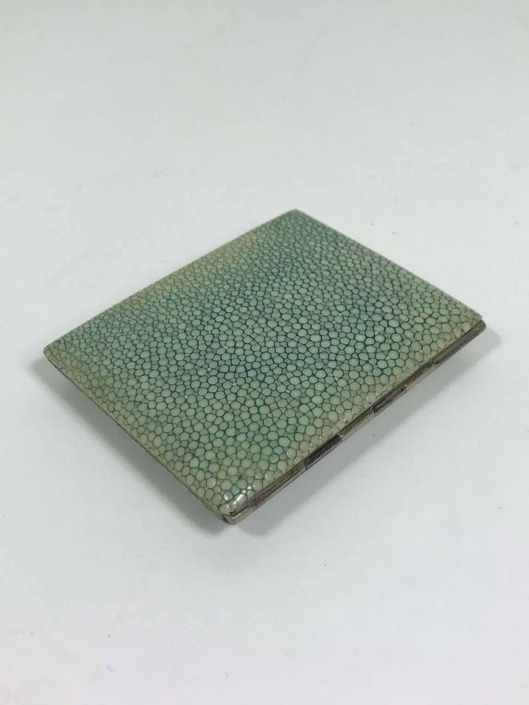 Vintage shagreen cigarette case. Mint green in color with minor wear consistent with age and regular use.