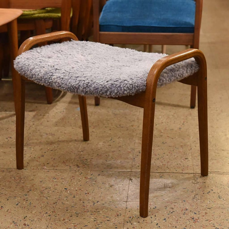 Lamino stool with grey lamb's wool upholstery by Yngve Ekström for Swedese.
