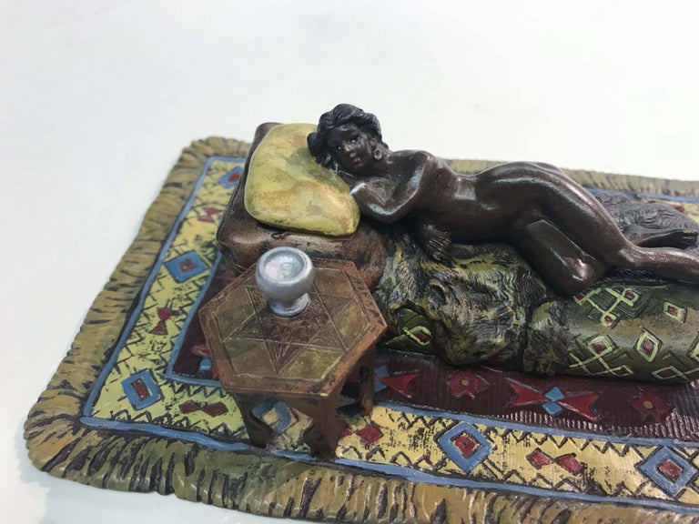 Cold-Painted Erotic Austrian Cold Painted Bronze Figure For Sale