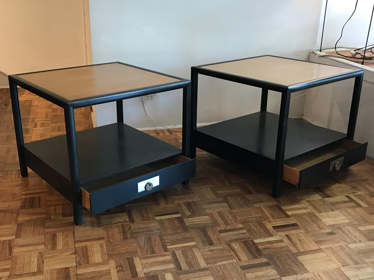 Pair of end tables or nightstands by Michael Taylor for Baker Furniture's New World collection. Original condition with minor wear consistent with age and use. Please see photos.