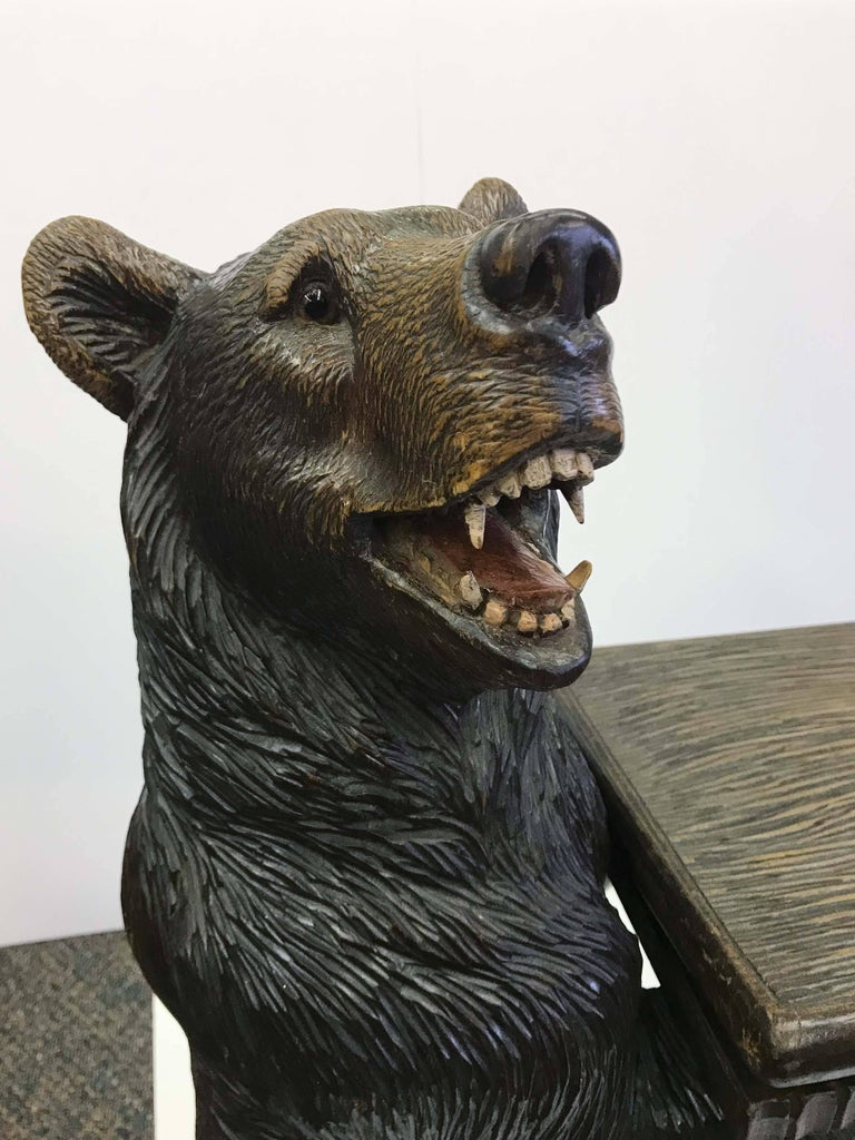 Black Forest Carved Bear Musical Bench For Sale At 1stdibs