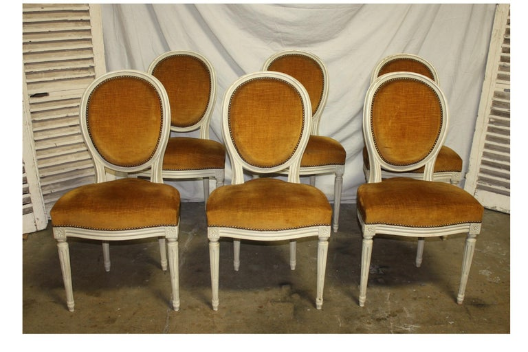 Lacquered Exquisite Set of Six Louis XVI French Chairs For Sale