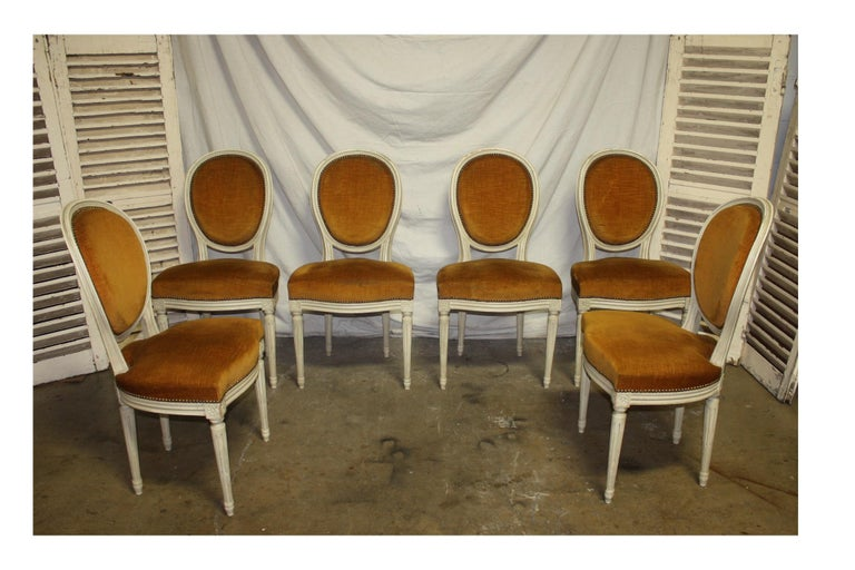 Exquisite set of six Louis XVI French chairs.