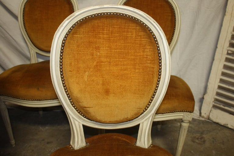 Exquisite Set of Six Louis XVI French Chairs For Sale 2