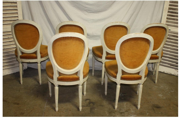 Exquisite Set of Six Louis XVI French Chairs For Sale 5