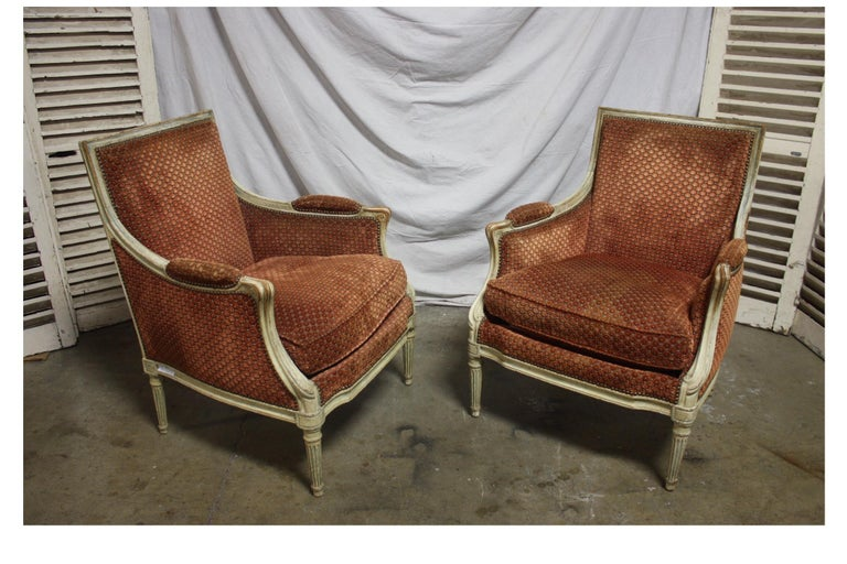 Hand-Painted Magnificent Pair of 18th Century French Bergere Chairs For Sale