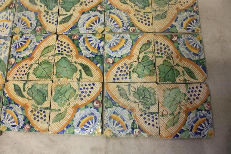 Hand-Painted 18th Century French Terracotta Tiles For Sale