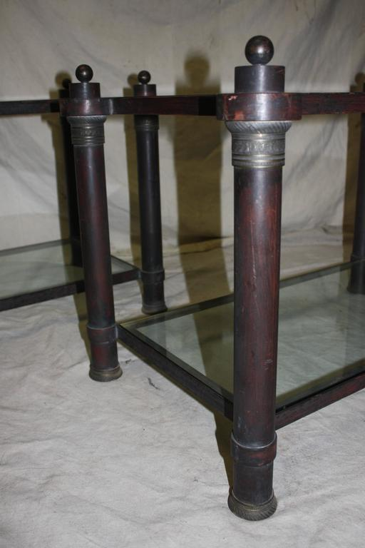 Patinated Beautiful Pair of End Tables For Sale