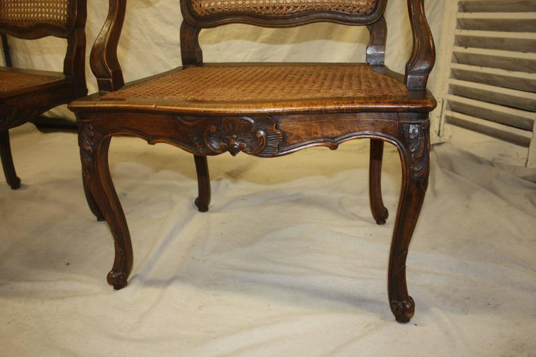 Pair of 18th Century Caned Chairs For Sale 3