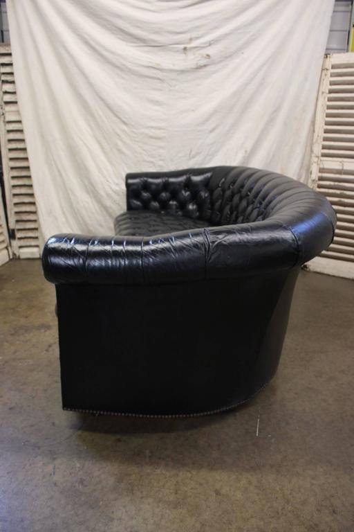 French Gorgeous Black Leather Chesterfield For Sale