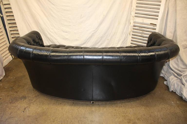 Gorgeous Black Leather Chesterfield In Good Condition For Sale In Atlanta, GA