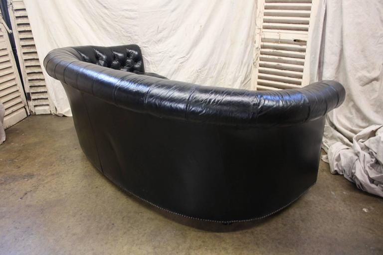 20th Century Gorgeous Black Leather Chesterfield For Sale