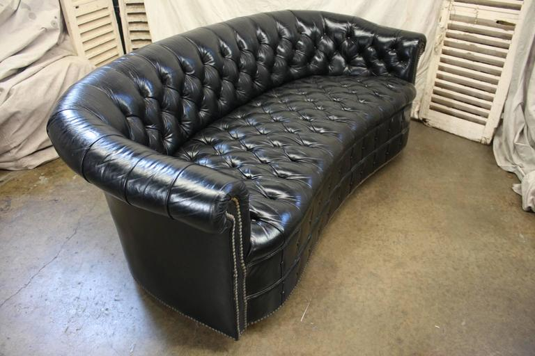 Gorgeous Black Leather Chesterfield For Sale 2