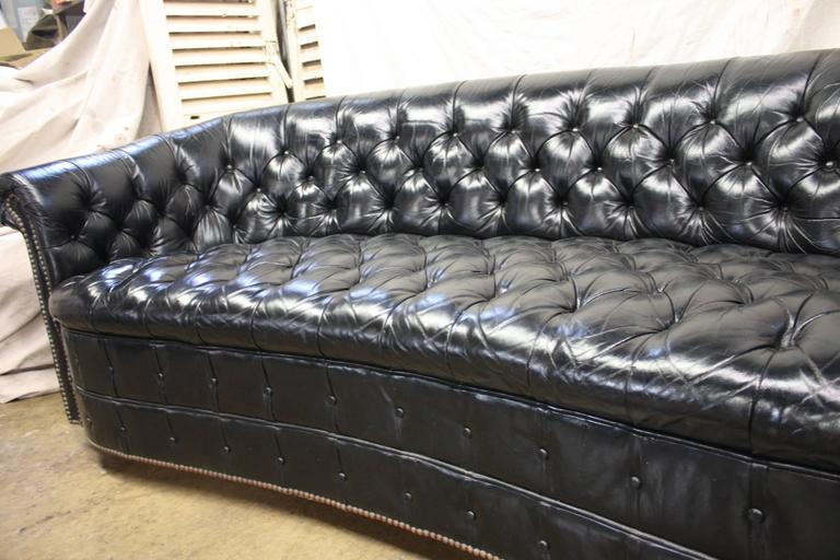 Gorgeous Black Leather Chesterfield For Sale 4