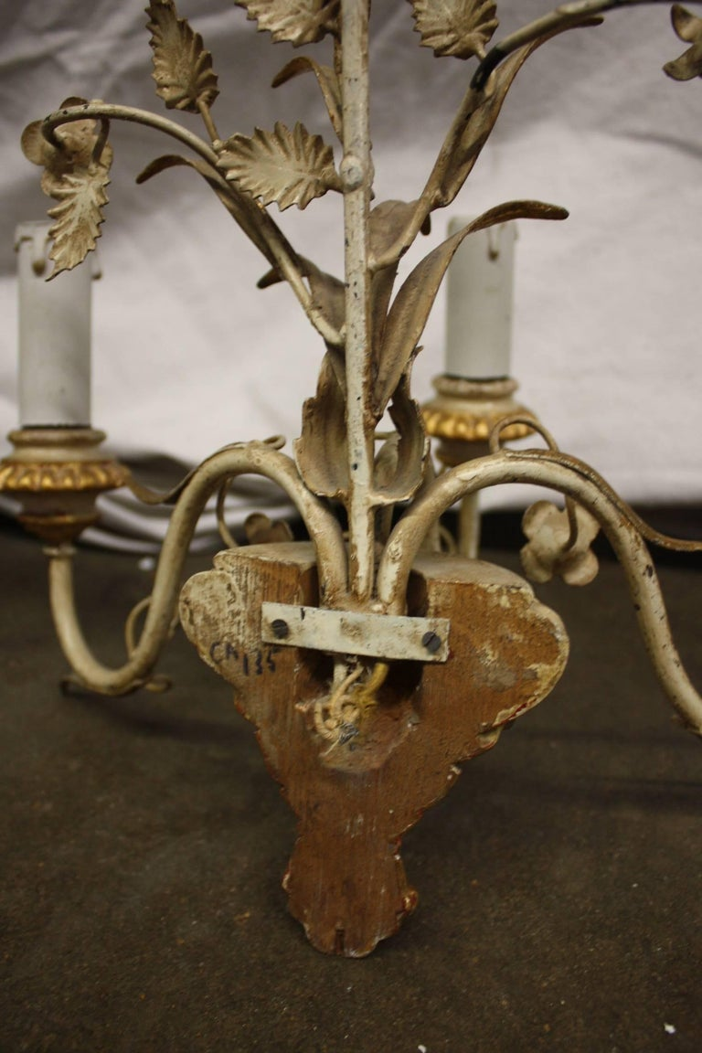 Pair of French Painted Sconces For Sale 1