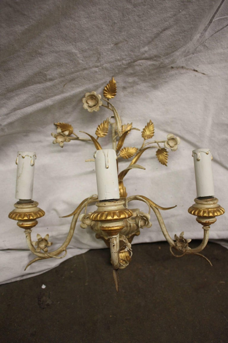 Louis XVI Pair of French Painted Sconces For Sale