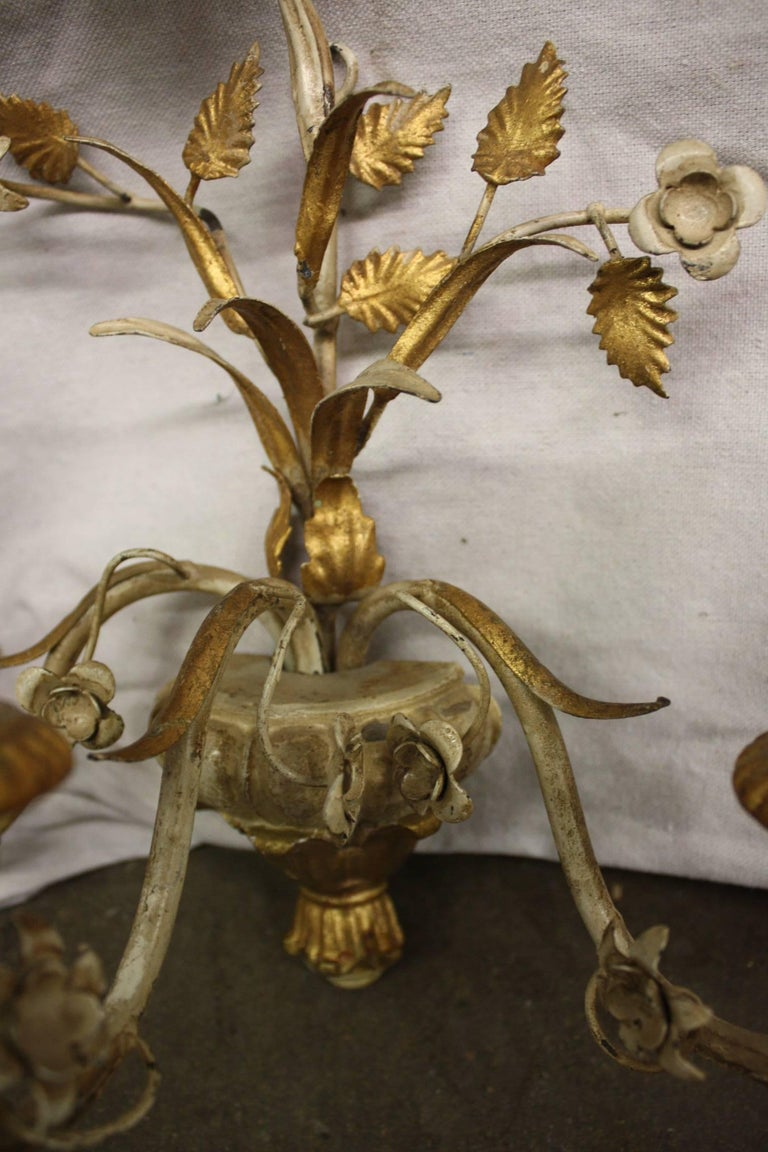 20th Century Pair of French Painted Sconces For Sale