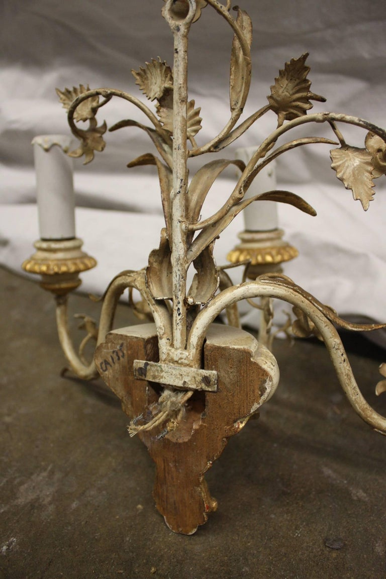 Metal Pair of French Painted Sconces For Sale