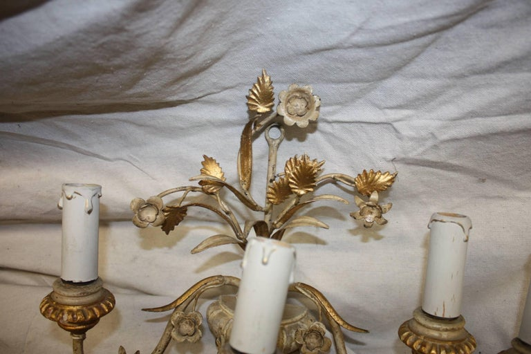 Gilt Pair of French Painted Sconces For Sale