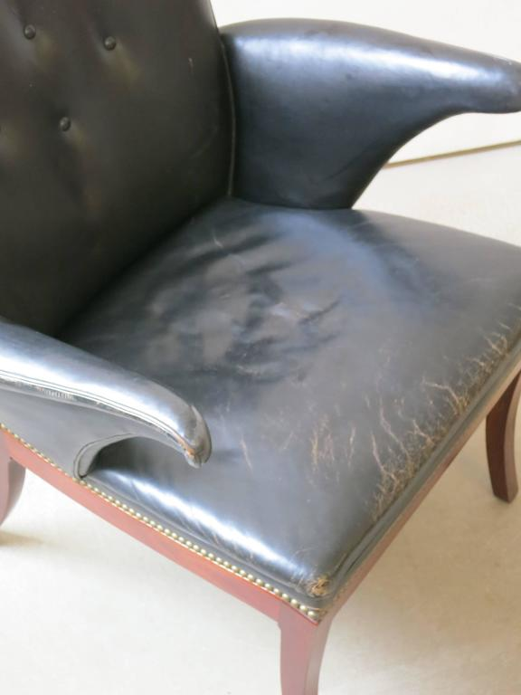 1930s Armchair in Original Black Leather by Frits Henningsen 4