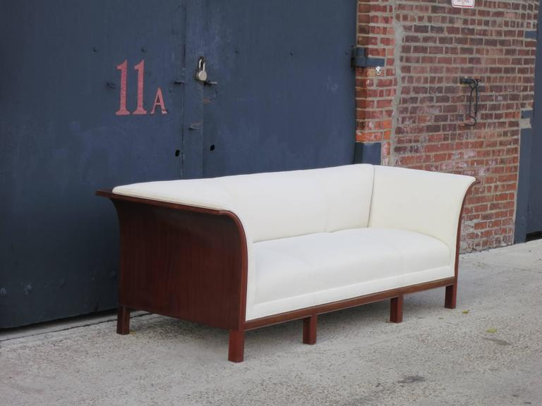 Scandinavian Modern Sofa in Carved Cuban Mahogany and Alpaca Velvet by Frits Henningsen, 1930s  For Sale