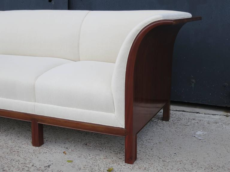 Mid-20th Century Sofa in Carved Cuban Mahogany and Alpaca Velvet by Frits Henningsen, 1930s  For Sale