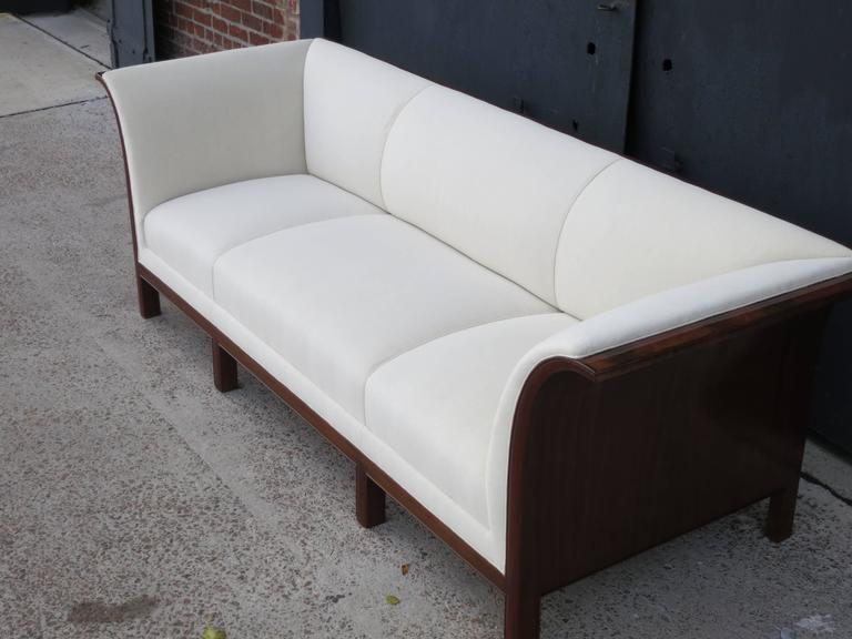 Sofa in Carved Cuban Mahogany and Alpaca Velvet by Frits Henningsen, 1930s  For Sale 1