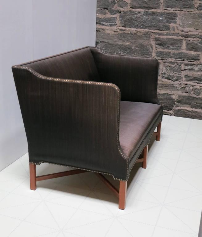 Scandinavian Modern Sofa in Original Black Horsehair with Leather Welts by Kaare Klint For Sale