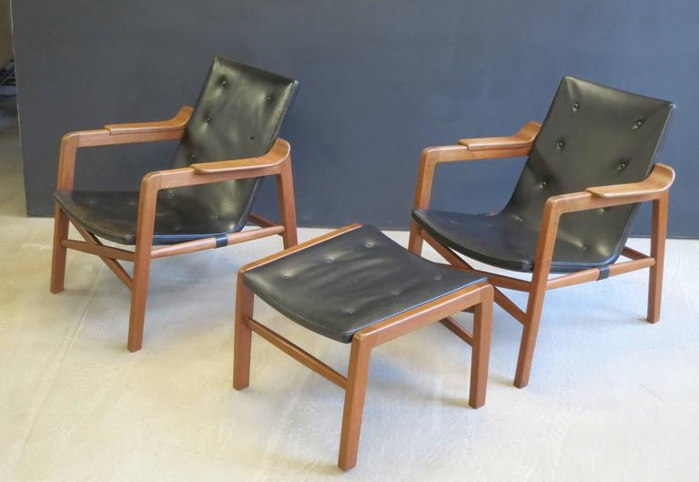 "Group of ""Fireplace Chairs"" with Footstool by Tove & Edvard Kindt-Larsen.  About the chair: This important chair, created to sit in a den in front of an open fireplace, was first exhibited at the Copenhagen Cabinetmaker's Guild Exhibition in 1939"