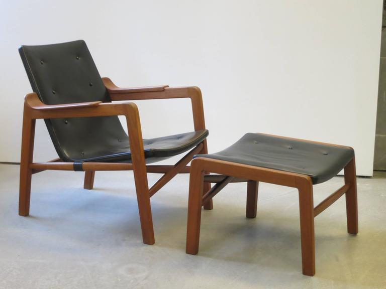 "Scandinavian Modern Group of ""Fireplace Chairs"" with Footstool by Tove & Edvard Kindt-Larsen For Sale"