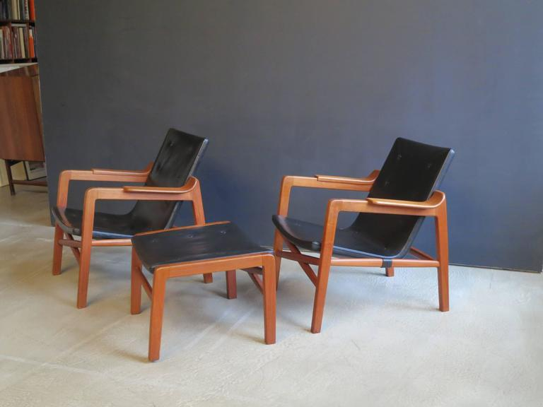"Patinated Group of ""Fireplace Chairs"" with Footstool by Tove & Edvard Kindt-Larsen For Sale"