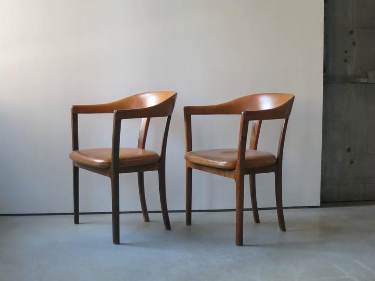 Scandinavian Modern Ole Wanscher, Pair of Armchairs in Brazilian Rosewood and Nigerian Goatskin For Sale