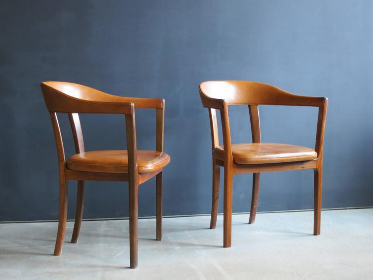 Danish Ole Wanscher, Pair of Armchairs in Brazilian Rosewood and Nigerian Goatskin For Sale
