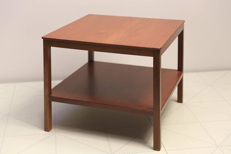 Offered by Vance Trimble, Square Side Table with Bottom Shelf in Cuban Mahogany by Kaare Klint. Designed 1930, this table made circa 1937.  Cabinetmaker Rud Rasmussens Snedkerier, with cabinetmaker's paper label on the underside, with penciled