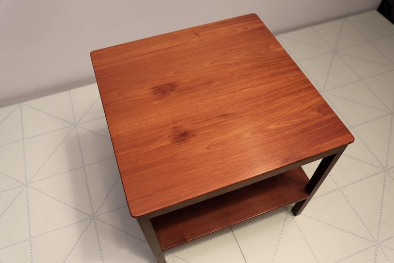 Scandinavian Modern Square Side Table with Bottom Shelf in Cuban Mahogany by Kaare Klint For Sale