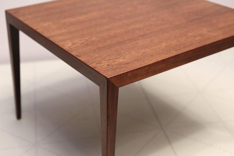 Square Side Table in Brazilian Rosewood by Severin Hansen. Designed in 1955 and made in the 1950s by Haslev Møbelsnedkeri, with cabinetmaker's paper label on the underside, with serial number 33.