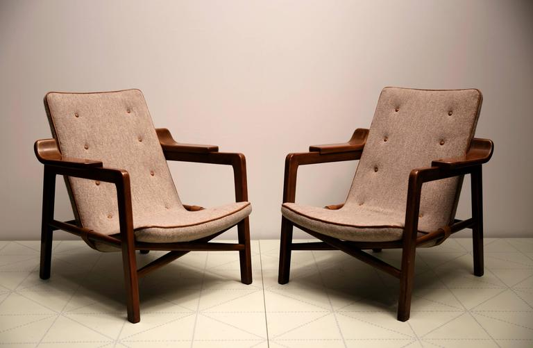 Scandinavian Modern Pair Of Fireplace Chairs By Edvard And Tove  Kindt Larsen For Sale
